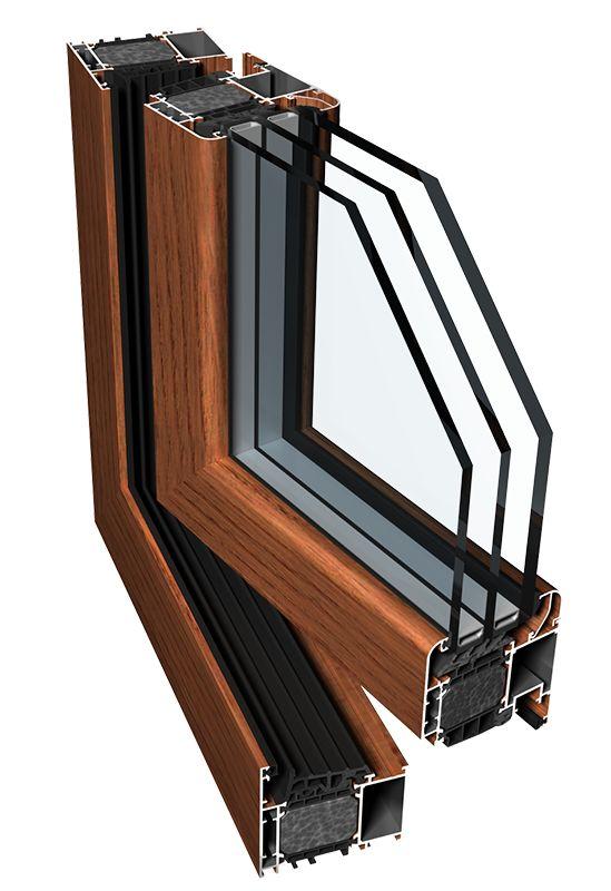 Теплые окна алюминиевые PE 78N HI