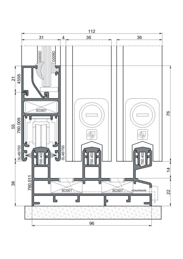 схема и разрез алюминиевые раздвижные окна серии SL600
